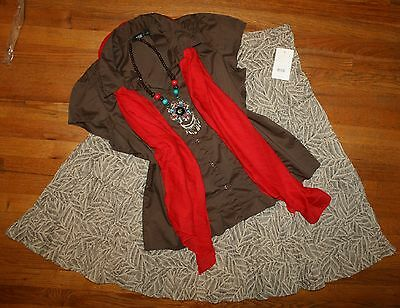 Lot 4-Pc Womens 16/18 Outfit* New Broomstick Skirt * A.n.a. Brown Blouse * 1X Xl