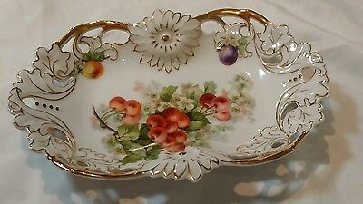 Antique Dish Reticulated Porcelain Joseph Schachtel J.S. Germany 1859-1919 NICE