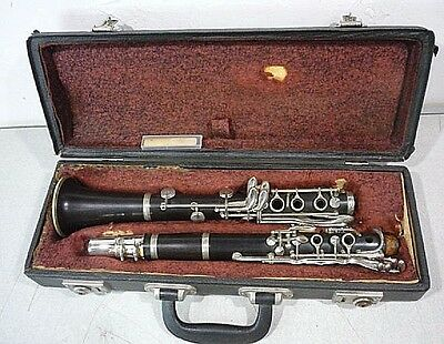 vintage A. LeComte & Cie Wood Clarinet with original hard shell case