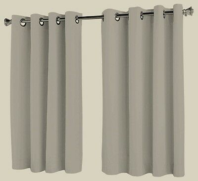 Ready Made Blockout Eyelet curtains - Short Drop 140cm - 2 x 120cm wide Biscotti
