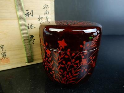C4132: Japanese Wooden Lacquer ware TEA CADDY Natsume Jujube,Souga made