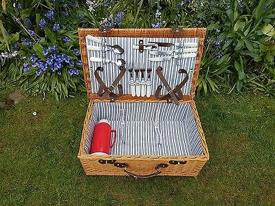 Wicker Picnic Hamper Basket for 4 People with a Thermos & Cutlery (No Plates)