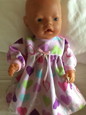 "DOLLS CLOTHES To FIT 17"" Baby Born DOLL~ Flannelette Nightie. Pink Hearts"