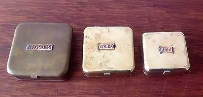 Three Vintage Brass Fishing Containers For Bait, Maggots, Worms, Hinged Lids