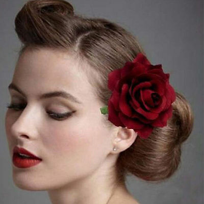 Women Wine Red Rose Flower Hair Clip Corsage Bridal Hairpin Brooch Headwear New