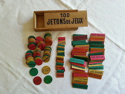 """Boite Ancienne Bois + 140 Jetons Publicitaires """"anis Berger"""" Collection Bistrot"""