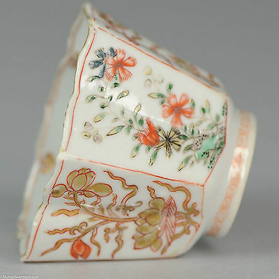 Antique Ca 1700 Chinese Porcelain Kangxi Verte Bowl Flower compartments Marked