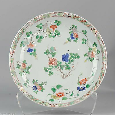 34.3CM ca1700 Kangxi Chinese Porcelain Charger Famille Verte Antique Qing China