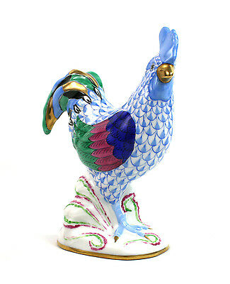 Herend Porcelain Cockerel Light Blue Hand Painted Fishnet Gilt