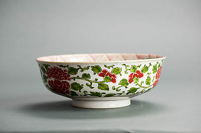 Top Quality! Good Japanese 20th c Tetsuka Green & Red Bowl Japanese Porcelain