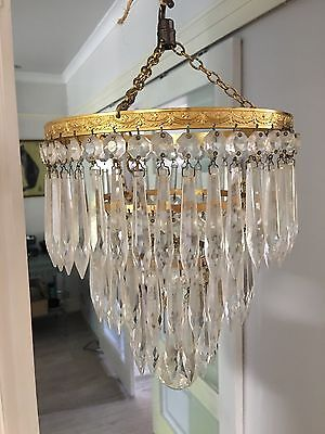 brass and icicle crystals waterfall vintage chandelier