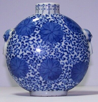 Excellent Antique Chinese Blue And White Porcelain Snuff Bottle, Lotus Scrolls