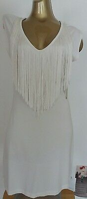 New Stunning Women's dress White size 12 Ladies dress Fringing Detail KB