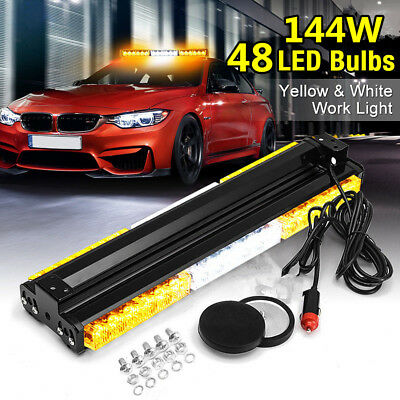 "144W 48LED 24"" Ultrabright Emergency Vehicle Strobe Lights Warning Flashing Lamp"