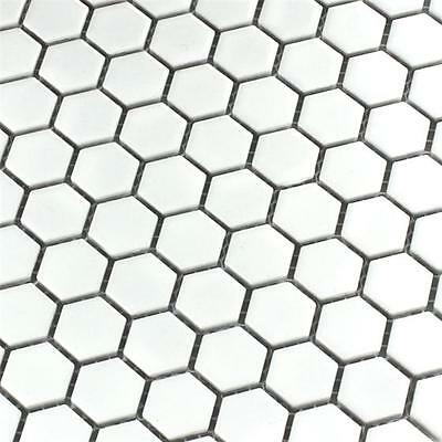 White Hexagon Matt Mosaic Wall & Floor Tiles 2.3 x 2.3
