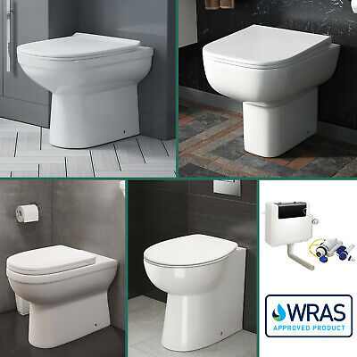 Bathroom Modern Back To Wall Toilet Cloakroom Soft Close Seat Wc Ceramic Btw Pan
