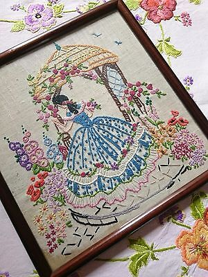 Vtg Linen Hand Embroidered Picture ~ Crinoline Lady Garden Bluebirds  Hollyhock