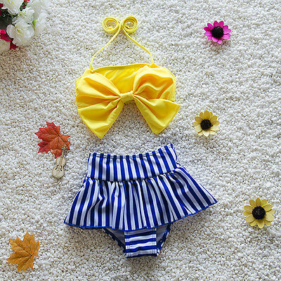 Kids Baby Girls Bowknot Bikini Suit Swimsuit Swimwear Bathing Swimming Clothes