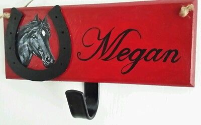 Personalised pony plaque,hand painted with hook,any name colours £12free post