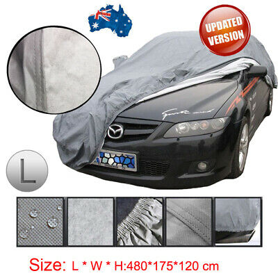 100% Waterproof L Size Full Car Cover 3Layer Heavy Duty Breathable UV Protection