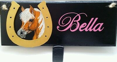 Personalised pony plaque,hand painted with hook, any name colours £12,free post