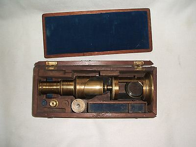 Antique 19th Century Lacquered Brass Field Microscope in Mahogany box.