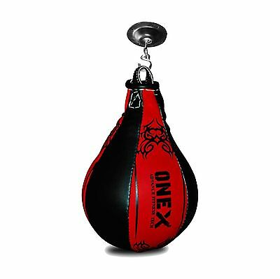 Leather Speed Ball Pear Shape Boxing Punch Bag & Swivel MMA Punching Dodge Ball