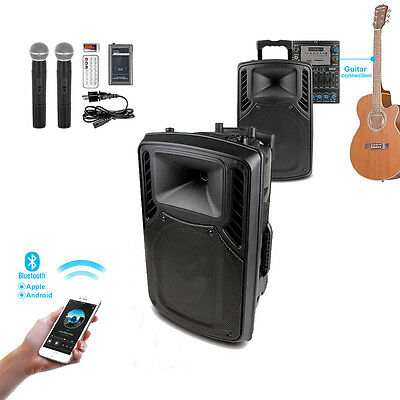 "300W 12"" Active PA System Speaker w/ Wireless Mic Bluetooth USB Guitar in"