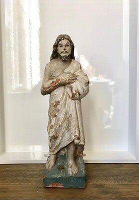 Antique Portuguese colonial Jesus Christ santo wood statue