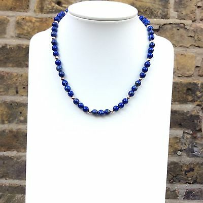 Lapis Lazuli Necklace natural untreated beads sterling silver