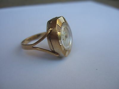 montre ancienne  bague plaqué or Emka vintage watch ring gold plated suisse