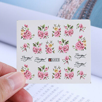 2Sheets Nail Art Rose Flower Water Decals Colorfu Transfer Stickers Nail Decor