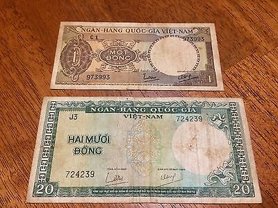 South Viet Nam 1 Dong And 20 Dong 1964
