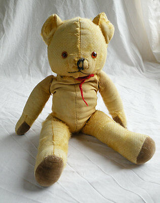 Lovely cute vintage straw filled antique teddy bear 17 inches tall jointed limbs