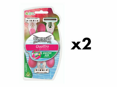 Wilkinson Sword Quattro For Women Disposable Razors For Shaving- 6 Pack
