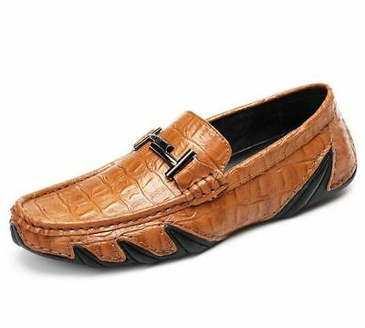 NEW men's Breathable casual real leather shoes Moccasin Slip On Loafers Size 9.5