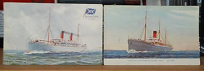 Vintage Postcards - Union Castle Line the SS Norman & Steamer Gaika - unused