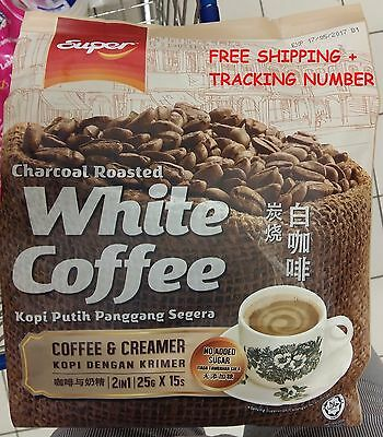 SUPER CHARCOAL ROASTED WHITE COFFEE 2 IN 1  (25g X 15 SACHETS) - FS + TRCAKING