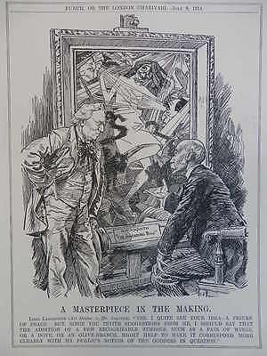 "1914 ww1 LORD LANSDOWNE TO MR ASQUITH ""THE AMENDING BILL Original Punch Cartoon"