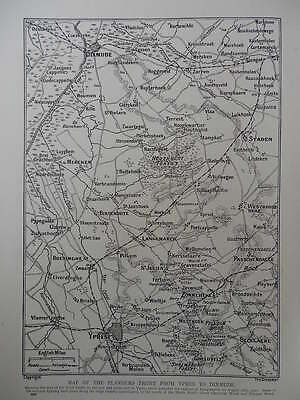 Ww1 1917 War Map Flanders Front From Ypres To Dixmude; Passchendaele Gheluvelt
