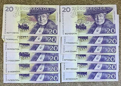 SWEDEN  20 Kronor Banknote x 12