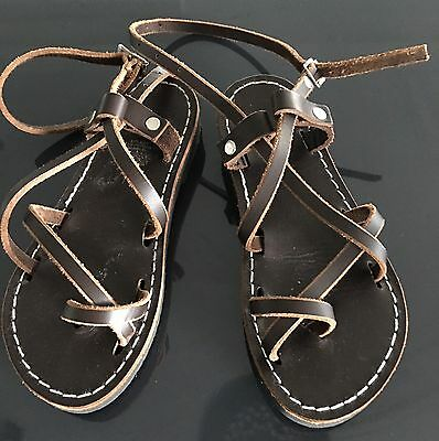 Ankle Strap Sandals Size 5 Brown Genuine Leather