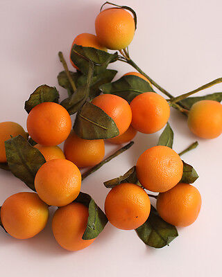 6 Fake Faux Oranges Fruit Christmas Holly Ring Wreath Decoration with Leaves