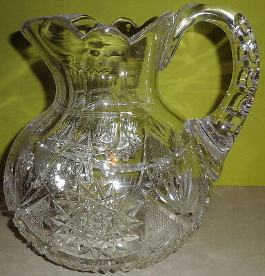"HTF c1905 Signed CLARK ABP cut glass MAYFLOWER PATTERN bulbous 7"" PITCHER- MINT!"