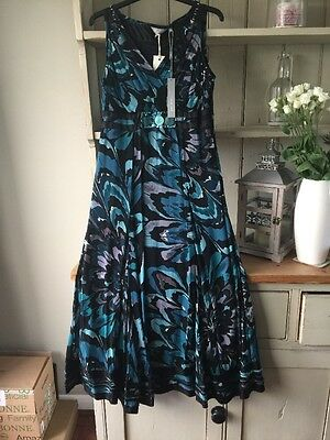 BNWT Ladies M&S/ Per Una Dress S 10 Black/ Green Floral Sleeveless Midi Length