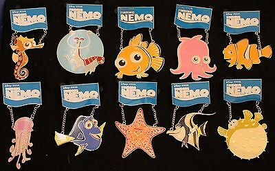 DISNEY AUCTIONS FINDING NEMO DANGLE PIN FULL SET SILVER ARTIST PROOF AP COAs LE4