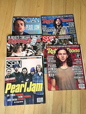 SIX (6) Pearl Jam Magazines, Rolling Stone, Spin, Musician, vintage