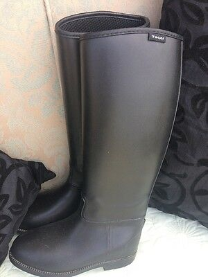 Black Rubber Toggi Riding Boots Size 4.5 Uk 37 Euro