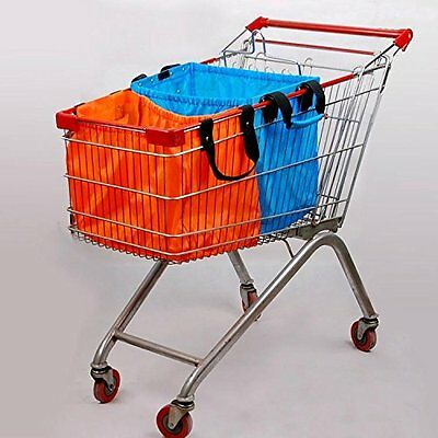 Pack of 4 Colours Heavy Duty Large Shopping Bags Design to Fit into trolley New