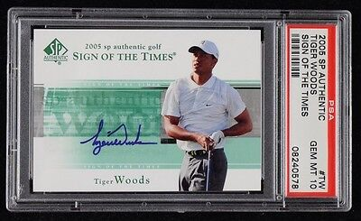 2005 SP Authentic Tiger Woods Auto PSA 10 Sign Of The Times Gem Mint Signed